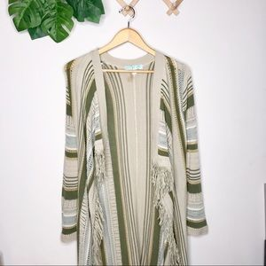Dina Be striped frayed long boho cardigan